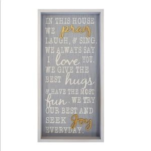 "NEW 20"" Family In this House We Pray Framed Sign"